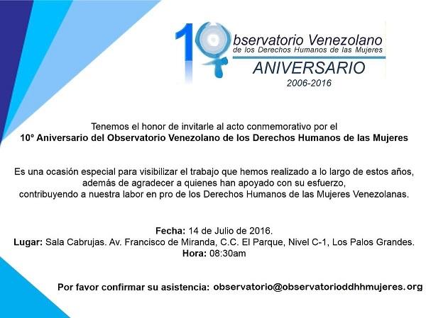 invitacion Observatorrio de los Derechos humanos de las Mujeres