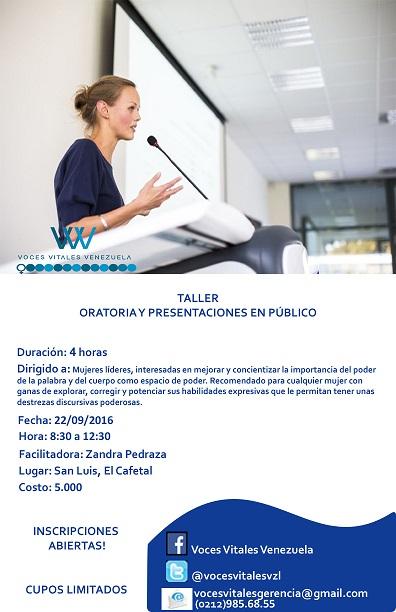 Afiche taller de ORATORIA